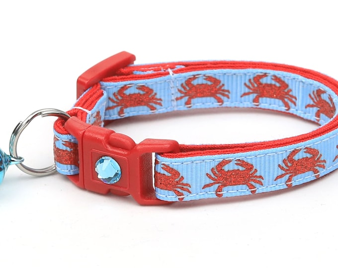 Beach Cat Collar - Crabs on Blue - Kitten or Large Size - Tropical - Nautical
