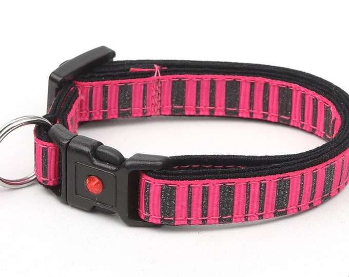 Striped Cat Collar - Spooky Stripes on Pink - Kitten or Large Size - Halloween Cat Collar