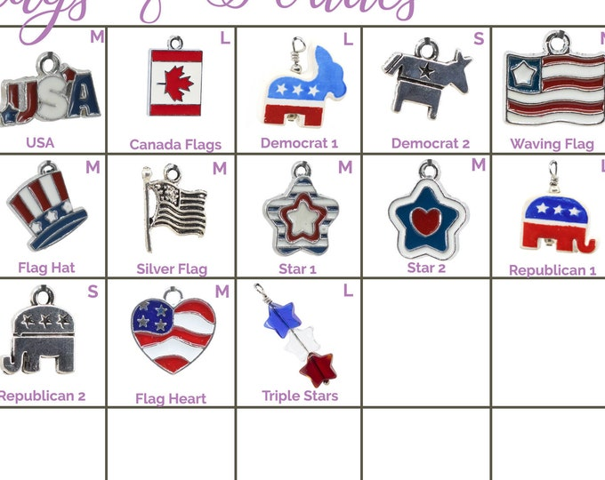 Collar Charms - Flag and Patriotic Charms - Flair - Extra Charms for Cat Collars - Bling - Jewelry Political
