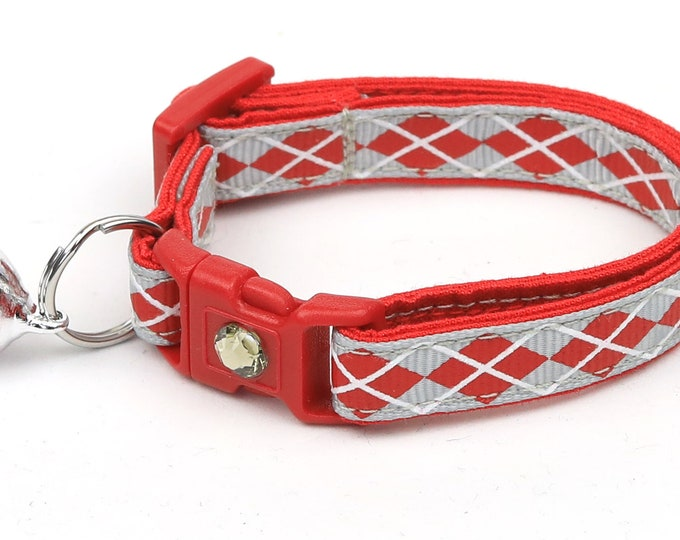 Argyle Cat Collar - Red Argyle on Silver - Small Cat / Kitten Size or Large Size