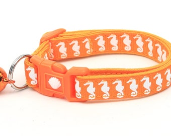 Tropical Cat Collar - Sea Horses on Orange - Kitten or Large Size - Nautical B93D130