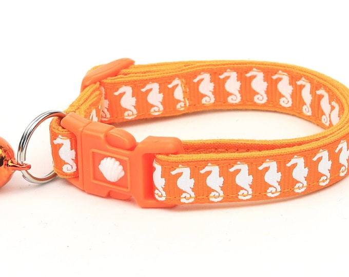 Tropical Cat Collar - Sea Horses on Orange - Kitten or Large Size - Nautical