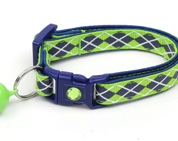 Argyle Cat Collar - Navy Argyle on Green - Small Cat / Kitten Size or Large Size