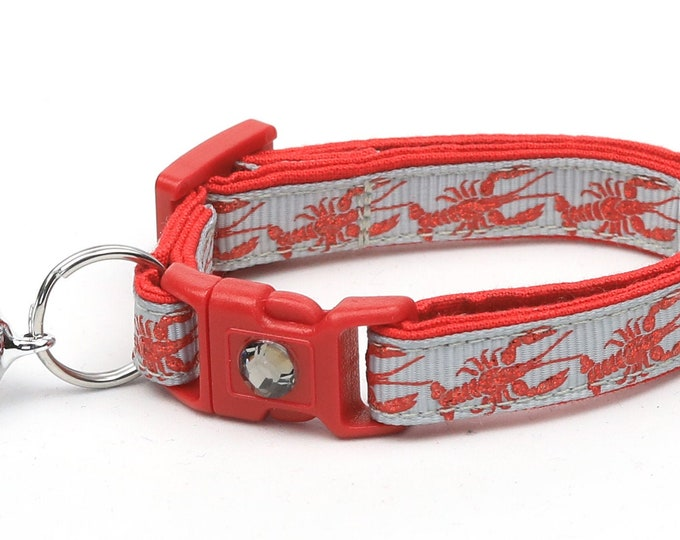 Nautical Cat Collar - Lobster on Silver - Kitten or Large Size - Tropical - Ocean
