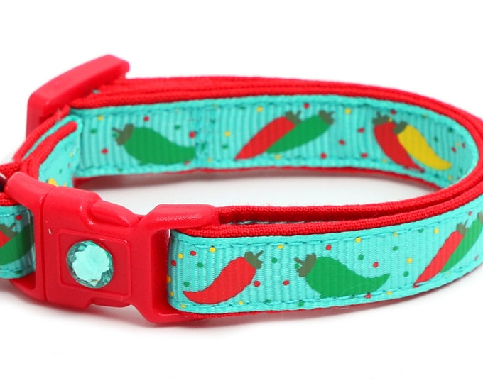 Pepper Cat Collar - Spicy Peppers on Aqua - Small Cat / Kitten Size or Large Size B15D26