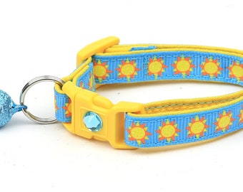 Sun Cat Collar - Suns on Blue - Breakaway Cat Collar - Kitten or Large size
