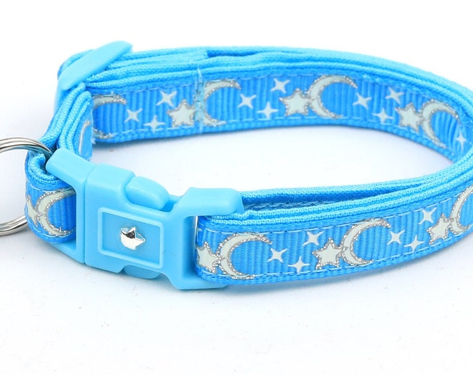 Moon Cat Collar - Silver Moons and Stars on Blue - Breakaway Cat Collar - Kitten or Large size - Glow in the Dark