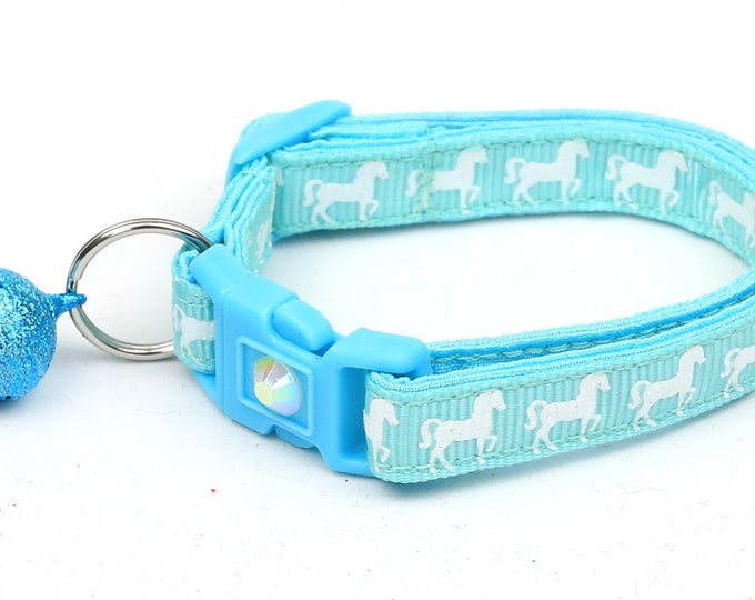 Horse Cat Collar - White Horses over Light Aqua - Kitten or Large Size - Breakaway Cat Collar