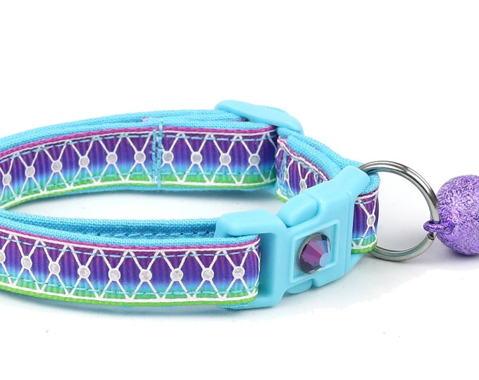 Ombre Cat Collar - Diamond Mesh over Aurora - Small Cat / Kitten or Large Cat Collar