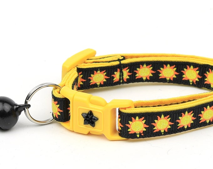 Sun Cat Collar - Suns on Black - Breakaway Cat Collar - Kitten or Large size
