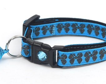 Bow Cat Collar - Black Glitter Bows on Blue - Small Cat / Kitten Size or Large Size