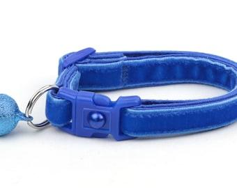 Soft Velvet Cat Collar - Royal Blue - Kitten or Large Size - Breakaway - Safety