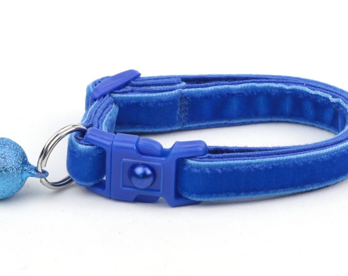 Soft Velvet Cat Collar - Royal Blue - Kitten or Large Size - Breakaway - Safety B9