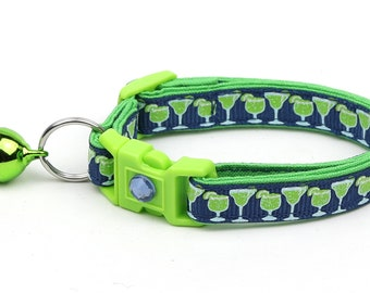 Margarita Cat Collar - Margaritas on Navy - Small Cat / Kitten Size or Large Size D27