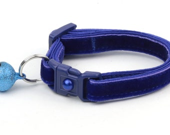 Soft Velvet Cat Collar - Navy Blue - Kitten or Large Size - Breakaway - Safety