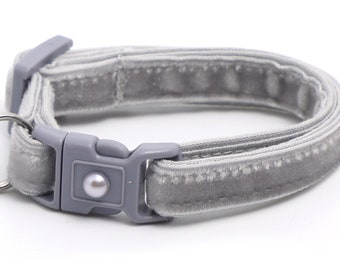 Soft Velvet Cat Collar - Silver - Light Grey - Kitten or Large Size B47D223