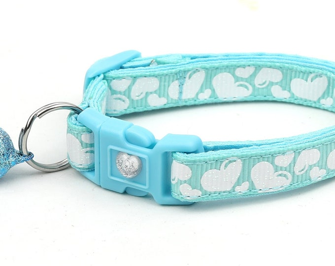 Valentines Day Cat Collar - Puffy White Hearts on Light Aqua - Kitten or Large Size