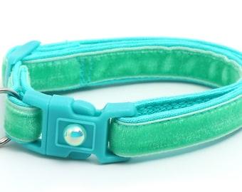 Soft Velvet Cat Collar - Aqua - Turquoise - Blue Green - Kitten or Large Size B9D222