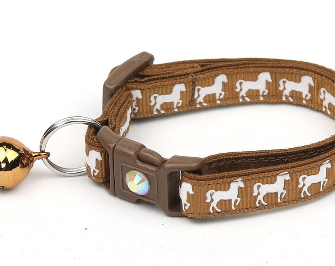 Horse Cat Collar - White Horses over Brown - Kitten or Large Size - Breakaway Cat Collar