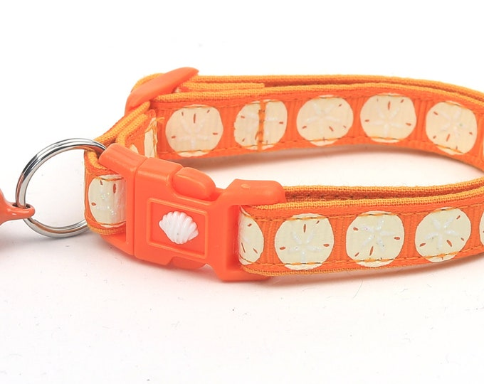 Beach Cat Collar - Sand Dollars on Orange - Kitten or Large Size - Nautical