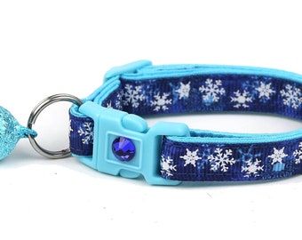 Snowflake Cat Collar - Snow Blizzard - Breakaway Cat Collar  - Kitten or Large Size B15D110