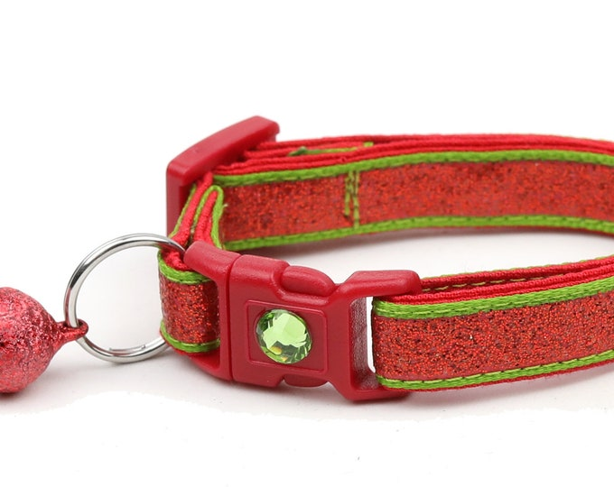 Red Glitter Cat Collar -Red Glitter Over Apple Green - Kitten or Large Size