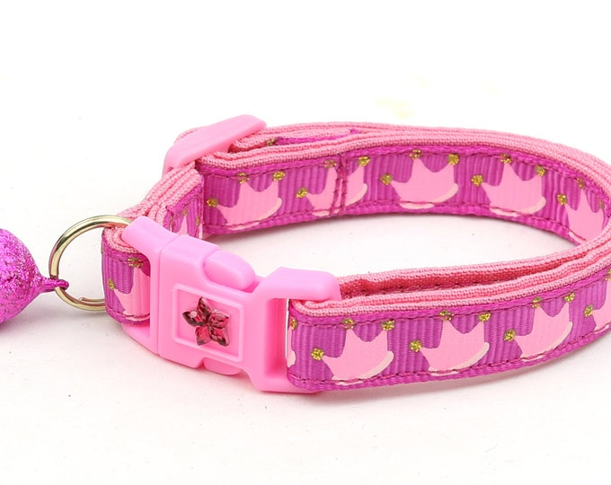 Crown Cat Collar - Pink Crowns on Pink - Kitten or Large Size B104D121