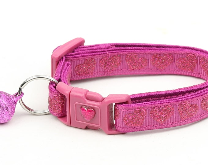 Valentines Day Cat Collar - Pink Glitter Hearts - Kitten or Large Size