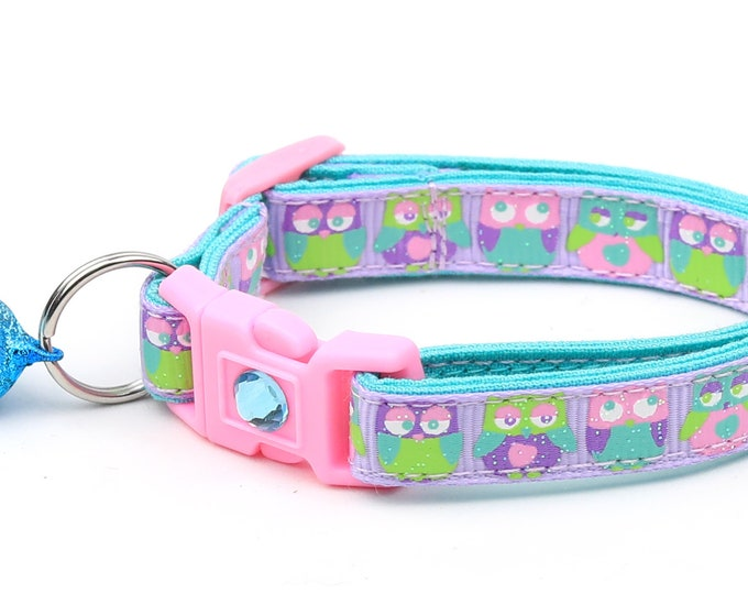 Owl Cat Collar - Colorful Owls on Purple  - Small Cat / Kitten Size or Large Size