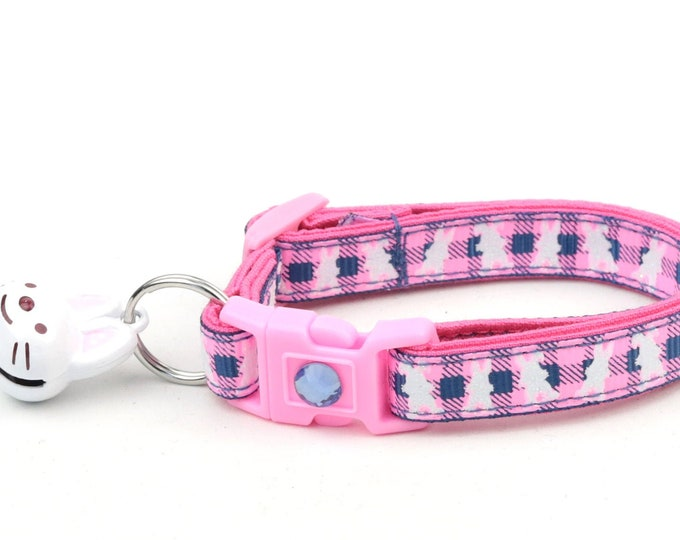 Easter Cat Collar - Pink Plaid Bunnies on Navy - Small Cat / Kitten Size or Large Size
