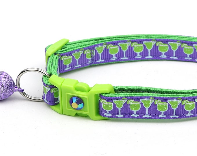 Margarita Cat Collar - Margaritas on Purple - Small Cat / Kitten Size or Large Size