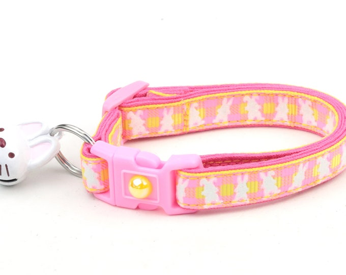 Easter Cat Collar - Pink Plaid Bunnies on Yellow - Small Cat / Kitten Size or Large Size