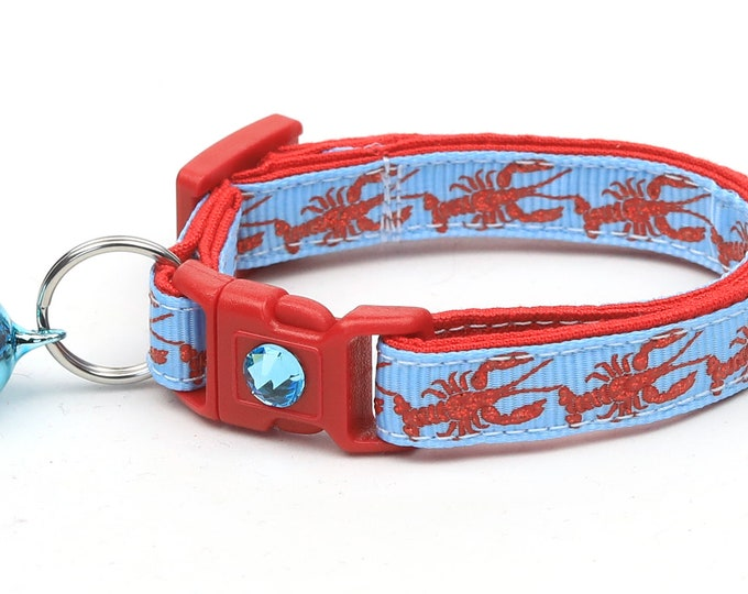Nautical Cat Collar - Lobster on Blue - Kitten or Large Size - Tropical - Ocean