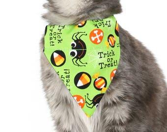 Pet Bandana - Trick Or Treat Spiders - Pet Scarf - Collar Cover - Halloween