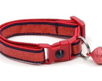 Red Glitter Cat Collar -Red Glitter Over Dark Navy - Kitten or Large Size B58D184
