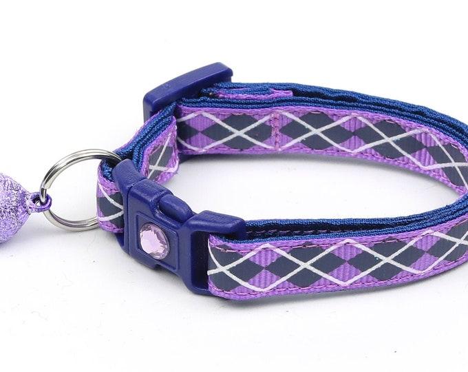 Argyle Cat Collar - Navy Argyle on Purple - Small Cat / Kitten Size or Large Size