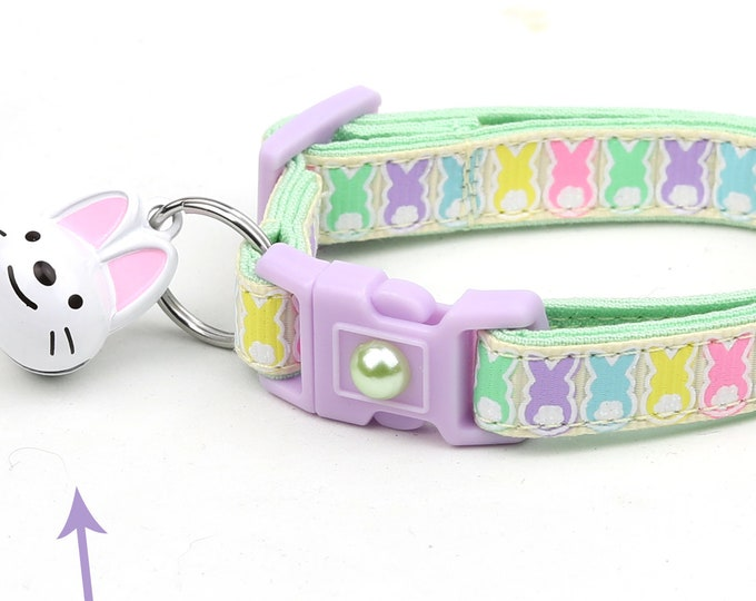 Easter Cat Collar - Easter Bunnies on Yellow- Kitten or Large Size