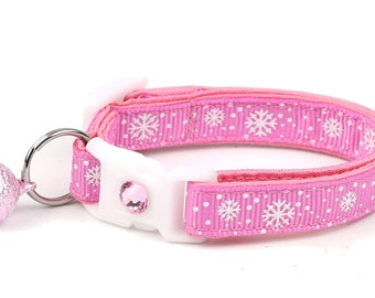 Snowflake Cat Collar -Snow Flurries on Pink - Breakaway Cat Collar - Kitten or Large Size B24D110