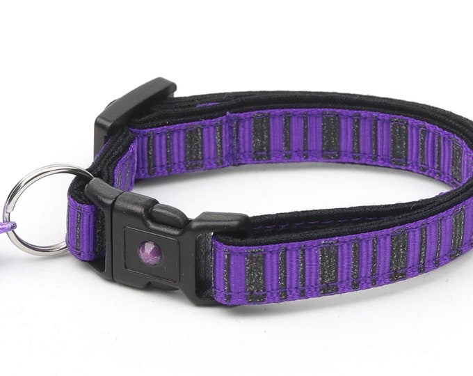 Striped Cat Collar - Spooky Stripes on Purple - Kitten or Large Size - Halloween Cat Collar