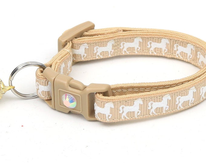 Horse Cat Collar - White Horses over Taupe - Kitten or Large Size - Breakaway Cat Collar