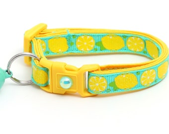 Fruit Cat Collar - Sourpuss - Lemons on Aqua - Small Cat / Kitten Size or Large Size B27D250
