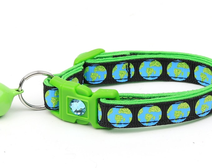 Space Cat Collar - Earth on Black - Breakaway Cat Collar - Kitten or Large size
