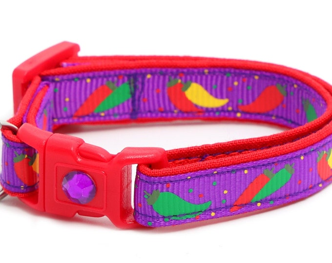 Pepper Cat Collar - Spicy Peppers on Purple - Small Cat / Kitten Size or Large Size B20D26