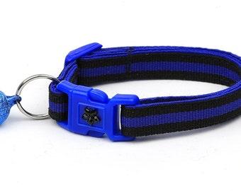 Police Collar - Thin Blue Line - Kitten or Large Size - Breakaway Cat Collar B12D88