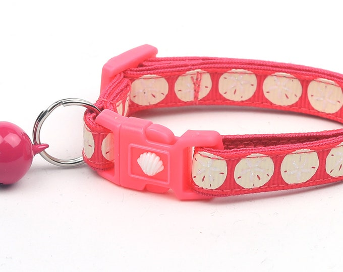 Beach Cat Collar - Sand Dollars on Bright Pink - Kitten or Large Size - Nautical