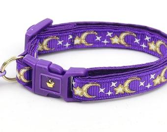 Moon Cat Collar - Gold Moons and Stars on Purple - Breakaway Cat Collar - Kitten or Large size - Glow in the Dark