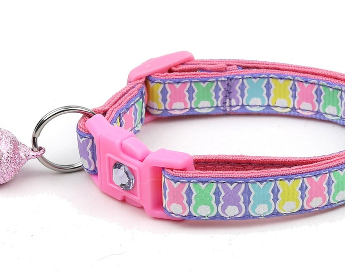 Easter Cat Collar - Easter Bunnies on Purple - Kitten or Large Size
