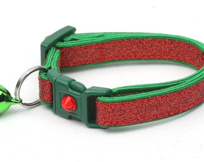 Red Glitter Cat Collar -Red Glitter Over Jolly Green - Kitten or Large Size