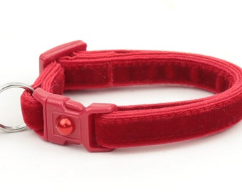 Soft Velvet Cat Collar - Classic Red - Kitten or Large Size