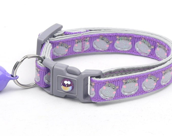 Hippo Cat Collar - Hippopotamus on Purple - Safety Breakaway - Small Cat / Kitten Size or Large Size